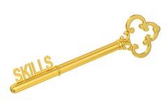 3D Skills - Golden Key. Skills - Golden Key, 3D rendering on white background Vector Illustration