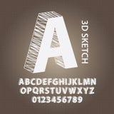 3D skissar alfabet och numrerar vektorn Arkivbilder