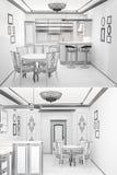 3d skissar av en inre av kök Royaltyfri Bild