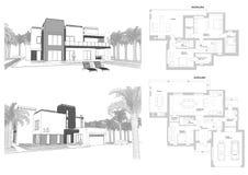 3d skissar av en modern privat byggnad med en terrass-, fasad- och bakgårdsikt som omges av palmträd Orientering för golvplan Arkivfoton