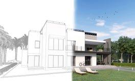 3d skissar av en modern privat husbakgård med en terrass, gräsmatta, cykel, och soldagdrivare som blir verkliga i 3d, framför Royaltyfri Bild