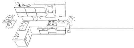 3d skissar teckningen av den moderna kökinre på bästa sikt för lång bakgrund Fotografering för Bildbyråer