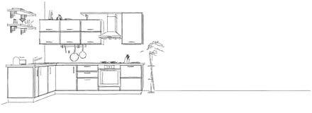 3d skissar teckningen av den moderna kökinre på lång bakgrund Stock Illustrationer
