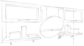 3d skissar teckningen av den runda kökhuven och skåp med exponeringsglas Vektor Illustrationer
