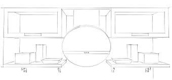 3d skissar teckningen av den runda kökhuven och skåp med exponeringsglas Fotografering för Bildbyråer