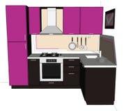 3D skissar teckningen av nätt lila- och brunthörnkök med byggt i kyl Fotografering för Bildbyråer