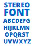 3d skutek stereoskopowy abecadło Ekranizaci usterka Symbole i charaktery odizolowywają na białym tle ilustracji