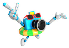 3d sky blue Camera Character dip tube ride. Create 3D Camera Rob Royalty Free Stock Photo