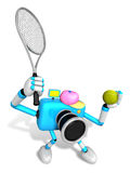3D Sky Blue Camera character is a powerful tennis game play exer Stock Photography