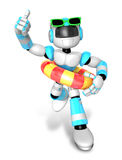 3d Sky Blue robot go on a waterside excursion. Create 3D Humanoi Royalty Free Stock Photography