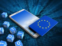 3d sky. 3d illustration of white phone over digital background with binary cubes and EU flag Royalty Free Stock Photo