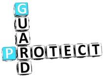 3D skyddar vakten Crossword stock illustrationer