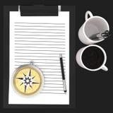 3d skyler över brister den cliped skrivplattan, skriver, koppar och kompassbegreppet Arkivbilder