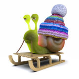 3d Sled snail Royalty Free Stock Images