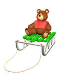 3D sled with teddy toy on white background. Illustration stock illustration