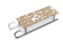 3d sledge  on white with a snow render illustration. Royalty Free Stock Images