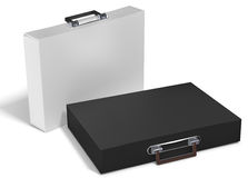 3d slim briefcases. On white background 3D illustration Stock Photos