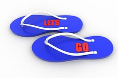 3d slipper with lets go text Royalty Free Stock Image