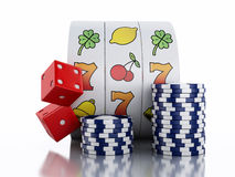 3d Slot machine with chips and dice. Casino concept. 3d renderer illustration. Slot machine with chips and dice. Casino concept. white background stock illustration