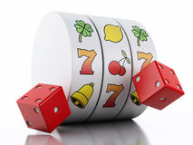 3d Slot machine with dice. Casino concept. Royalty Free Stock Photography
