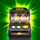 3d slots machine wins the jackpot. 3d slots machine wins the jackpot, Isolated on green background. Vector illustration stock illustration