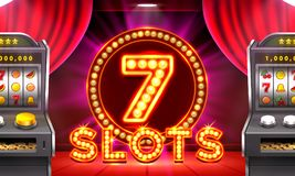 3d slots machine wins the jackpot. 3d slots machine wins the jackpot, Scene background art. Vector illustration royalty free illustration