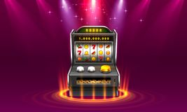 3d slots machine wins the jackpot, Isolated on glowing lamp background. Vector illustration stock illustration