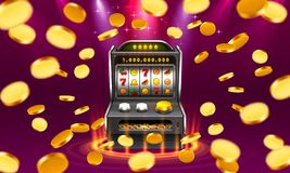 3d slots machine wins the jackpot, Isolated on glowing lamp background. Vector illustration vector illustration