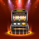 3d slots machine wins the jackpot, Isolated on glowing lamp background. Vector illustration royalty free illustration