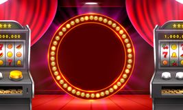 3d slots machine wins the jackpot, Scene background art. Vector illustration royalty free illustration