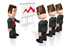 3D businessmen, presentation board - crisis chart. 3D cartoon character - businessmen, presentation board - crisis chart stock illustration