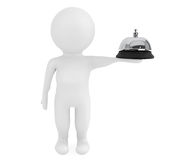 3d small character with a service bell. On a white background Royalty Free Stock Image