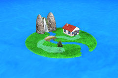 3d small island. With an house Royalty Free Stock Photos