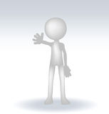 3d small man waving hand Royalty Free Stock Photography