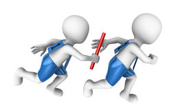 3d small people with baton. Relay. Stock Images