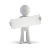 3d small people - blank white board. Isolated white background Royalty Free Stock Photo