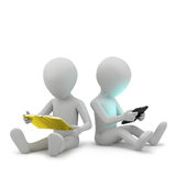 3d small people with a book and a tablet PC. Royalty Free Stock Photo