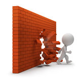 3d small people - through a brick wall Royalty Free Stock Photography