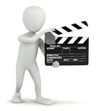3D small people - cinema clapper. Royalty Free Stock Photo