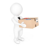 3d Small People Delivering a Cardboard Box. 3d Rendering Royalty Free Stock Photography