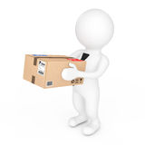 3d Small People Delivering a Cardboard Box. 3d Rendering Royalty Free Stock Photo