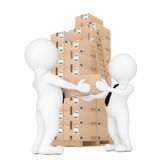 3d Small People Delivering a Cardboard Box to Another Person. 3d Stock Photography