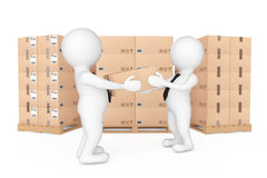 3d Small People Delivering a Cardboard Box to Another Person. 3d Stock Photos
