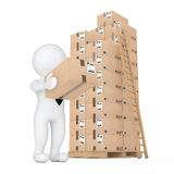3d Small People Delivering a Cardboard Box in Warehouse. 3d Rend Royalty Free Stock Images