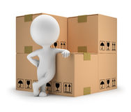 3d small people - delivery goods. 3d small person standing next to cardboard boxes. 3d image. White background Royalty Free Stock Images