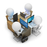 3d small people - development team. Of four work places. 3d image. White background Stock Image