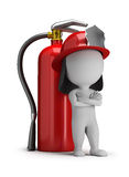 3d small people - fireman and a large extinguisher Royalty Free Stock Photography