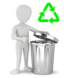 3d small people - garbage recycling. Royalty Free Stock Image