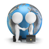 3d small people - global deal. 3d small people - two businessmen shake hands with each other against the background of the globe. 3d image. White background vector illustration