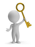 3d small people - golden key. 3d small man holding a golden key. 3d image. White background Royalty Free Stock Photo